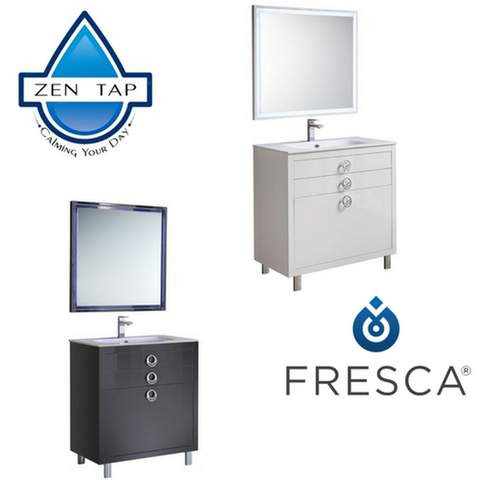 "Fresca Platinum Due 36"" Glossy Bathroom Vanity"
