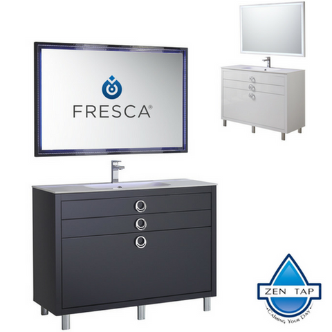 "Fresca Platinum Due 48"" Glossy Bathroom Vanity w/ Mirror"