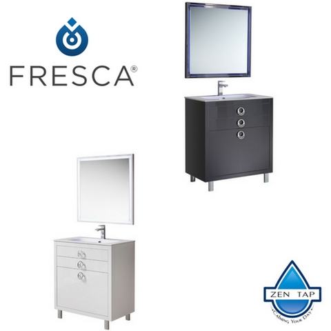 "Fresca Platinum Due 32"" Glossy Bathroom Vanity w/ Mirror"
