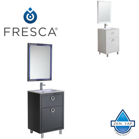 "Fresca Platinum Due 24"" Glossy Bathroom Vanity"