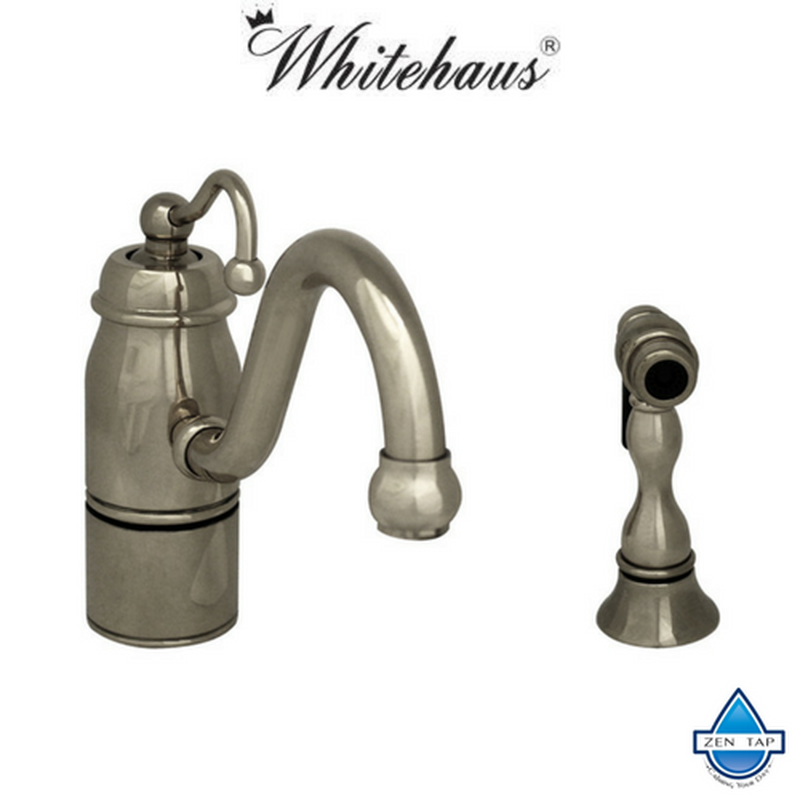Delicieux ... Whitehaus 3 3165 SPR C Curved Stick Beluga Kitchen Faucet With Side  Spray ...