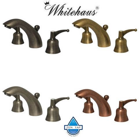 Whitehaus Widespread Lavatory Faucet with Smooth Lined Arcing Spout