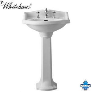 Whitehaus AR814-AR815 Traditional China Pedestal Sink with an Integrated Oval Bowl