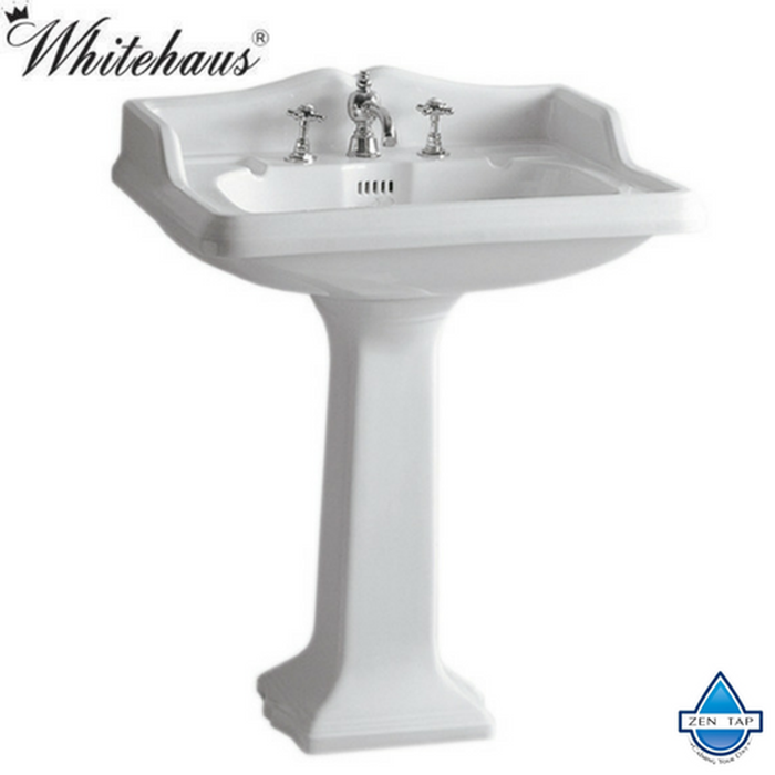 Whitehaus AR834-AR805 Traditional China Pedestal Sink with an Integrated Oval Bowl