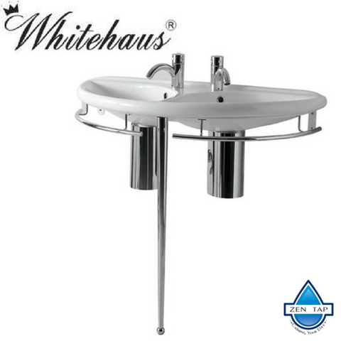Whitehaus ECO64-ESU04-WH Semi-Circular Double Bowl Console with Leg Support