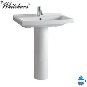 Whitehaus LU024-LU005 Tubular China Pedestal with a Rectangular Basin and Chrome Overflow