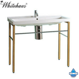Whitehaus LU030-LUA7 Large Rectangular Basin China Console With Natural Wood Leg Supports