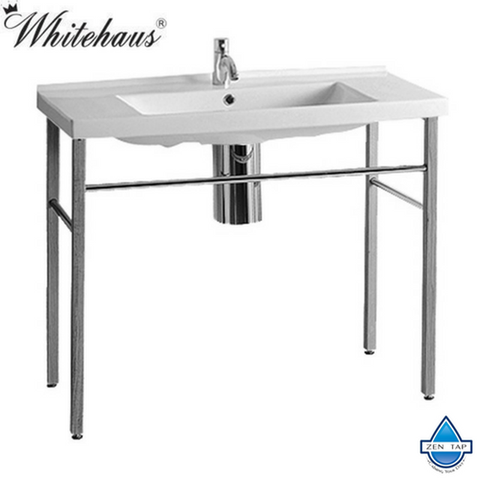 Whitehaus LU040-LUA7 Rectangular Bathroom Sink and Wood Leg Support Console