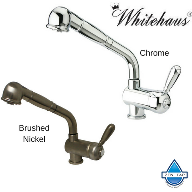 Whitehaus Wh64566 Modern Deck Mount Pull Out Single Hole Kitchen Faucet