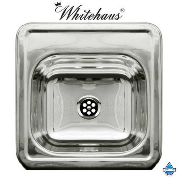 Whitehaus WH692 Polished Square Sinlge Bowl Drop-In Prep Kitchen Sink
