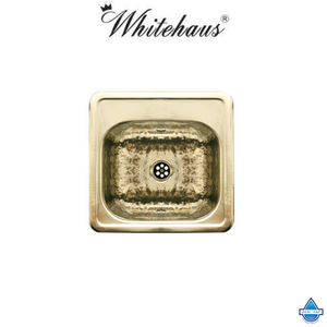 Whitehaus WH692 Hammered Square Single Bowl Drop-In Prep Kitchen Sink