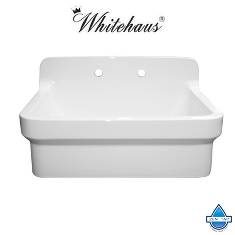 Whitehaus WHCW3022-8 Laundry Sink With A High Backsplash
