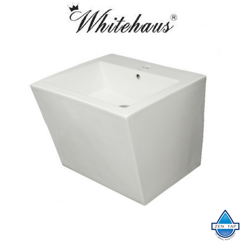 Whitehaus WHKN1039A Isabella Trapezoid Wall Mount Basin with Integrated Bowl and a Center Drain