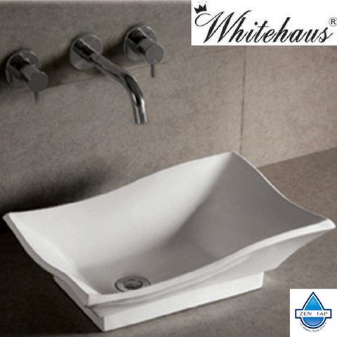 Whitehaus WHKN1078 Ceramic Rectangular Above Mount Bathroom Sink Basin. Above Mount Sink   Zen Tap Sinks