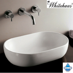 Whitehaus WHKN1080 White Ceramic Oval Above Mount Bathroom Sink Basin