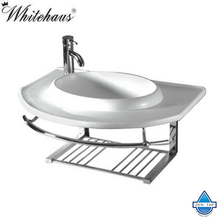 Whitehaus WHKN1124 Ceramic Round Bath Basin with Integrated Towel Bar