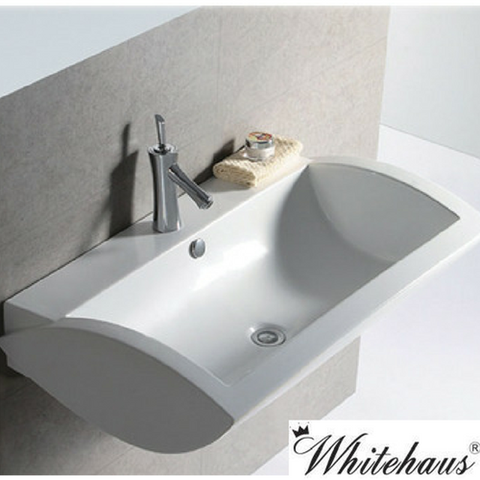 whitehaus whkn1128 ceramic rectangular wall mount bathroom sink basin