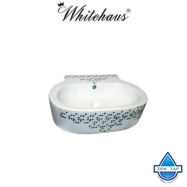 Whitehaus WHKN4046-03 Ceramic Decorated Above Mount Oval Bath Sink Basin
