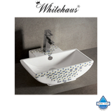 Whitehaus WHKN4047-03 Ceramic Decorated Above Mount Bathroom Sink Basin