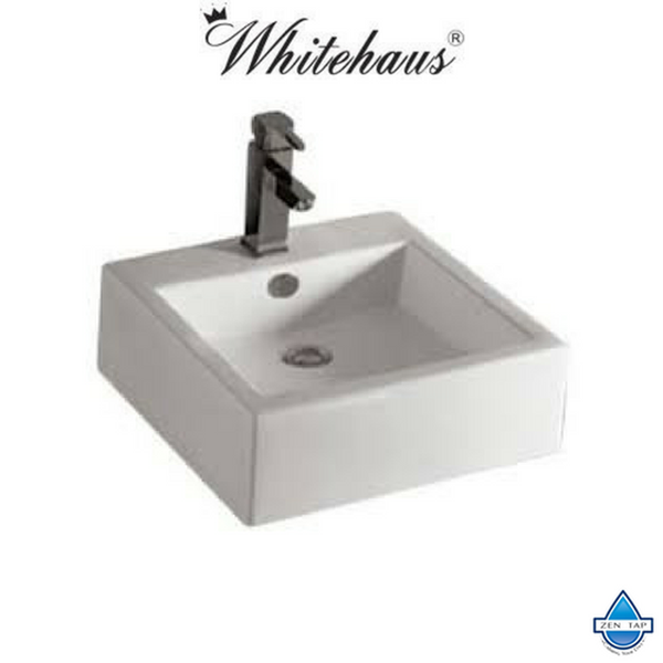 Whitehaus WHKN4051 Ceramic Square Above Mount Isabella Bathroom Sink Basin
