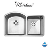 Whitehaus WHNC3220 Stainless Steel 32'' Double Bowl Undermount Sink