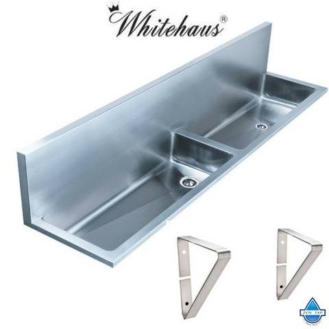 Whitehaus WHNCD72 Double Bowl Wall Mount Commercial Sink