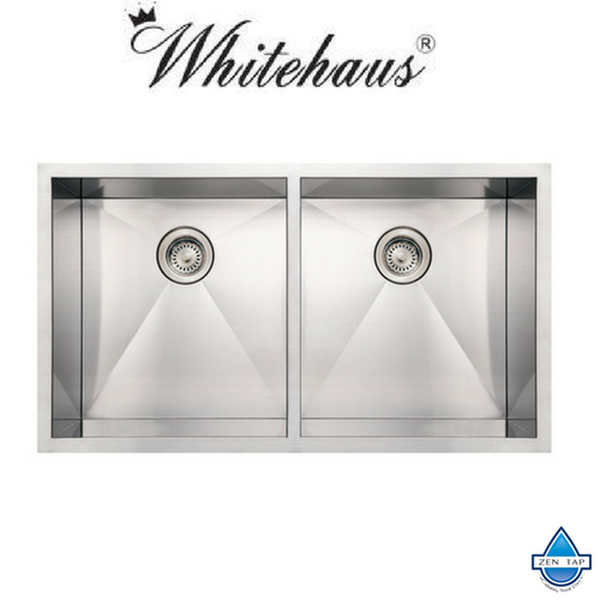 Whitehaus WHNCM3720EQ Stainless Steel 37'' Double Bowl Undermount Sink