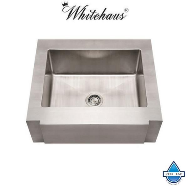 "Whitehaus WHNCMAP3026 Stainless Steel 30"" Single Apron Front Kitchen Sink"