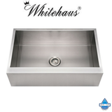 "Whitehaus WHNCMAP3321 Steel 33"" Single Bowl Apron Front Kitchen Sink"