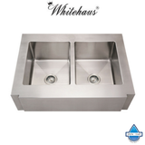 Whitehaus WHNCMAP3621EQ Stainless Steel 36'' Double Apron Kitchen Sink