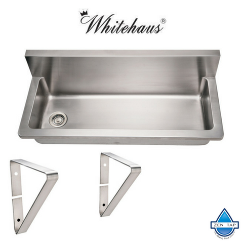 Whitehaus WHNCMB4413 Stainless Steel 44'' Single Bowl Utility Kitchen Sink