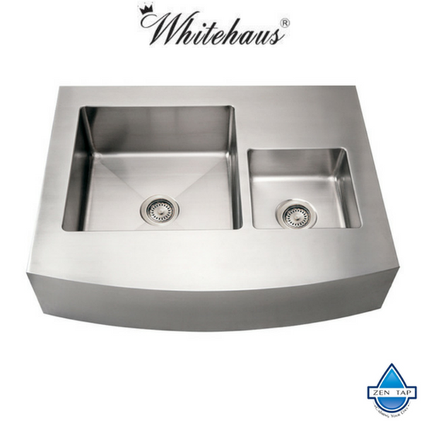 "Whitehaus WHNCMDAP3629 Stainless Steel 36"" Double Bowl Arch Kitchen Sink"