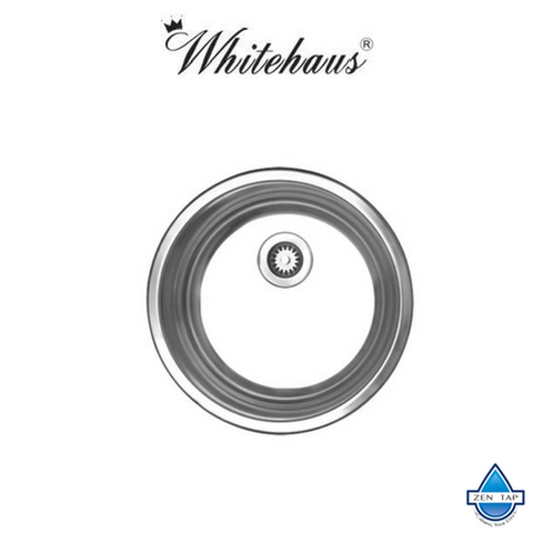 Whitehaus WHND11-5 Stainless Steel Round Drop-In Prep Kitchen Sink