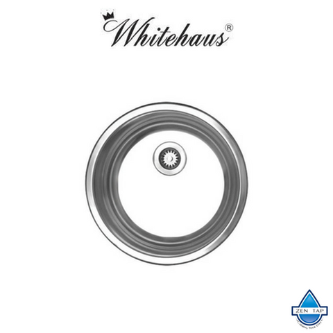 Whitehaus WHND11-7 Stainless Steel Round Drop-In Prep Kitchen Sink