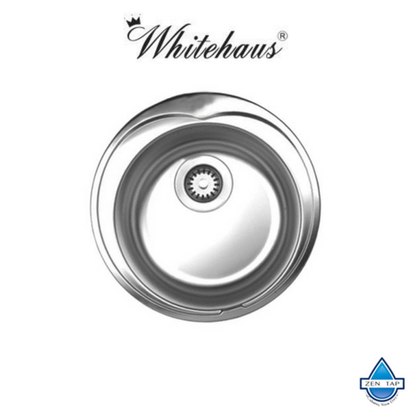 Whitehaus WHNDA16 Stainless Steel Large Round Drop-In Kitchen Sink