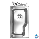 Whitehaus WHNDB3016 Stainless Steel 30'' Single Bowl Drop In Kitchen Sink