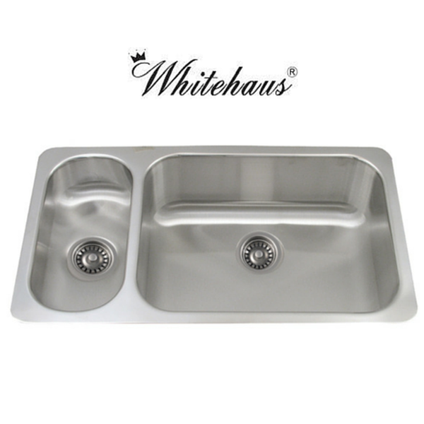 Whitehaus WHNDBU3118GDL Stainless Steel 32'' Double Bowl Disposal Sink