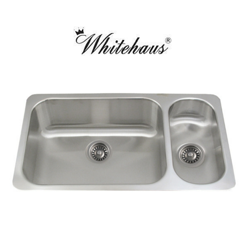 Whitehaus WHNDBU3118GDR Stainless Steel 32\'\' Two Bowl Disposal ...