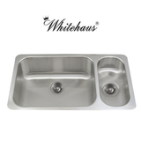 Whitehaus WHNDBU3118GDR Stainless Steel 32'' Two Bowl Disposal Kitchen Sink