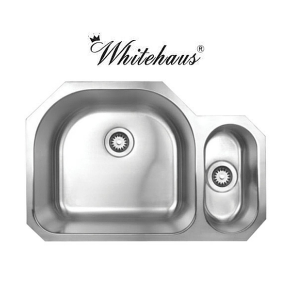 "Whitehaus WHNDBU3121 Stainless Steel 31"" 2 Bowl Undermount Kitchen Sink"