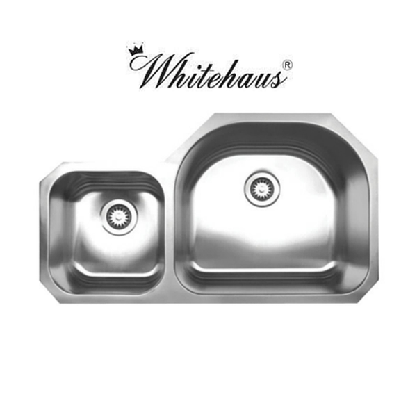 Whitehaus WHNDBU3721 Stainless Steel 37'' Double Bowl Undermount Sink
