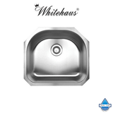 "Whitehaus WHNU2119 Stainless Steel 21"" D-Bowl Undermount Kitchen Sink"
