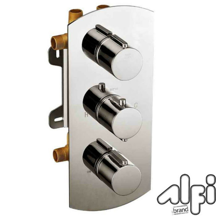 Alfi Brand AB4101 - Concealed 4-Way Thermostatic Valve Shower Mixer /w Round Knobs