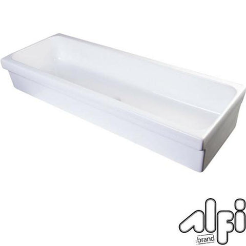"Alfi Brand AB48TR - 48"" White Above Mount Porcelain Bath Trough Sink"