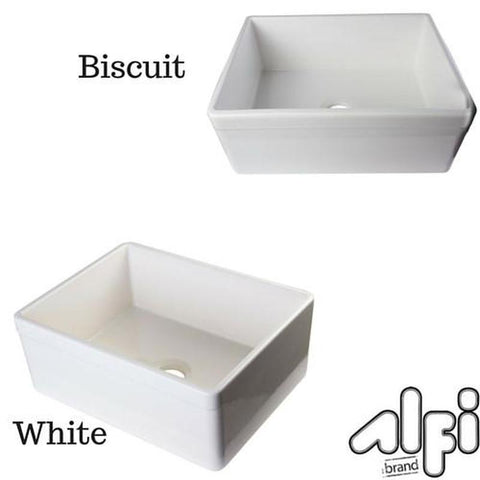 "ALFI brand AB506 26"" Decorative Lip Single Bowl Fireclay Farmhouse Kitchen"