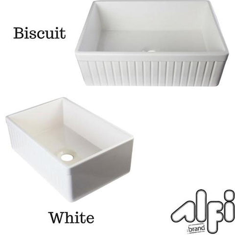 "ALFI brand AB509 30"" Fluted Fireclay Farm Kitchen Sink"