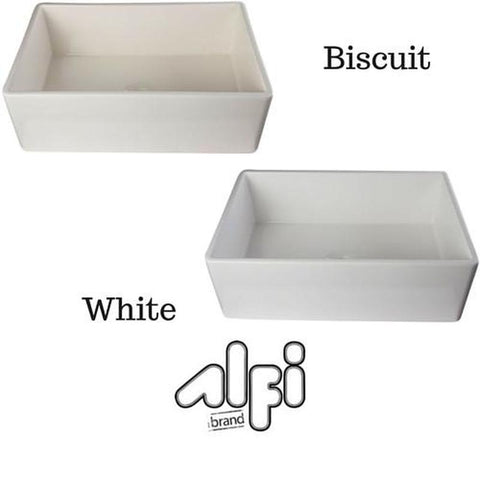 ALFI Brand AB510 Single Bowl Smooth Panel Fireclay Farmhouse Kitchen Sink