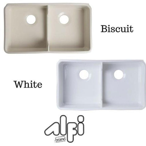 ALFI brand AB5123 Double Bowl Fireclay Farmhouse Apron Front Kitchen Sink