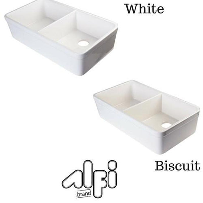 ALFI brand AB512 Double Bowl Fireclay 32'' Farmhouse Apron Kitchen Sink
