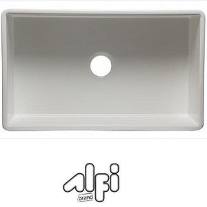 "Alfi Brand AB532 33"" White Single Bowl Fluted Fireclay Farm Sink"